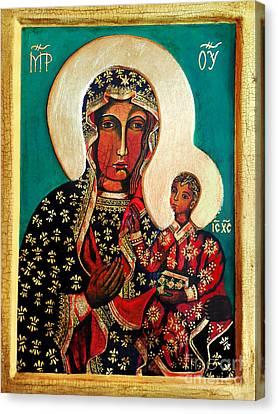 Black Madonna Of Czestochowa Icon II Canvas Print by Ryszard Sleczka