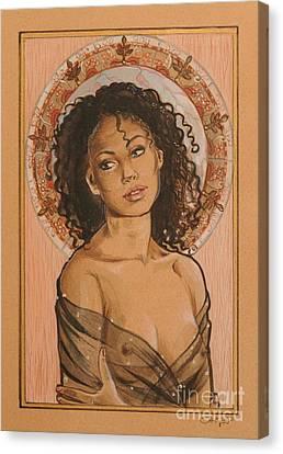 Black Madonna Canvas Print by Ottilia Zakany
