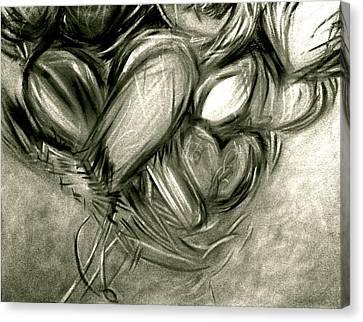 Black N' White-hearts Soar-thinking Of You Canvas Print by Juliann Sweet