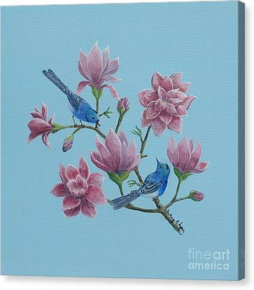 Black Naped Blue Flycatchers In Magnolias Canvas Print