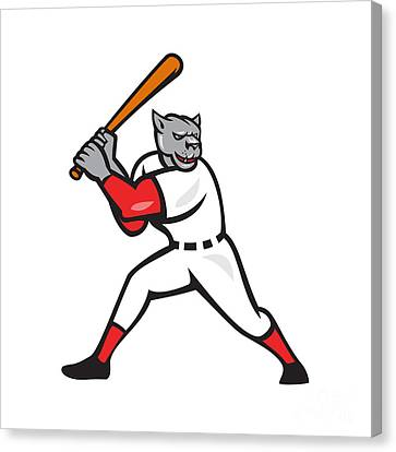 Black Panther Baseball Player Batting Isolated Canvas Print