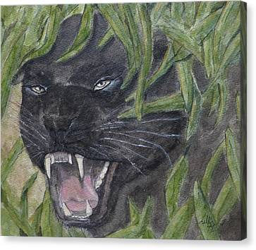 Canvas Print featuring the painting Black Panther Fury by Kelly Mills
