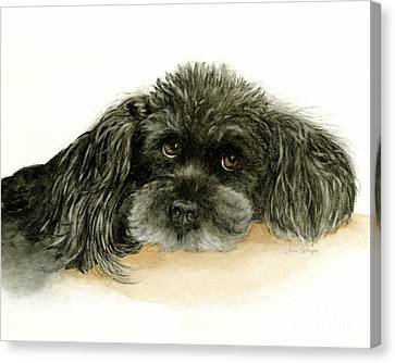 Canvas Print featuring the painting Black Poodle Dog by Nan Wright