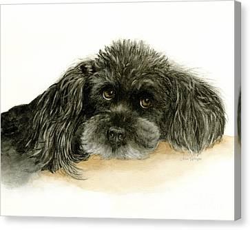 Black Poodle Dog Canvas Print