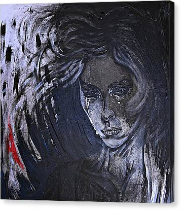 Canvas Print featuring the painting black portrait 16 Juliette by Sandro Ramani