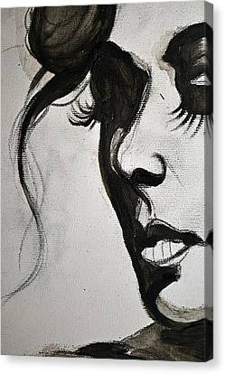 Canvas Print featuring the painting Black Portrait 16 by Sandro Ramani