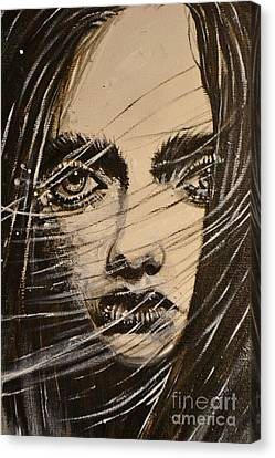 Canvas Print featuring the painting Black Portrait 18 by Sandro Ramani