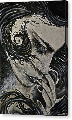 Black Portrait 4 Canvas Print by Sandro Ramani