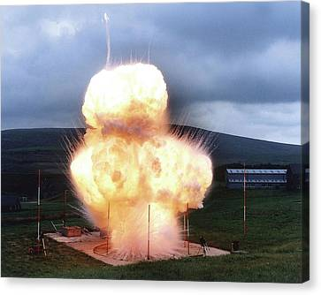 Black Powder Explosion Canvas Print by Crown Copyright/health & Safety Laboratory Science Photo Library