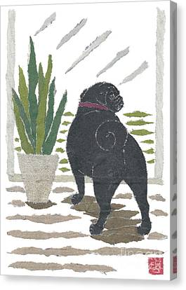 Black Pug Art Hand-torn Newspaper Collage Art Canvas Print by Keiko Suzuki Bless Hue