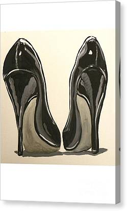 Canvas Print featuring the painting Black Pumps by Marisela Mungia