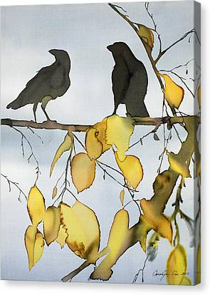 Black Ravens In Birch Canvas Print by Carolyn Doe