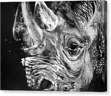 Black Rhino Canvas Print by Sharlena Wood