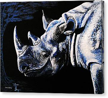 Canvas Print featuring the painting Black Rino by Viktor Lazarev