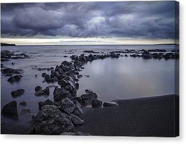 Canvas Print featuring the pastel Big Island - Black Sand Beach by Francesco Emanuele Carucci
