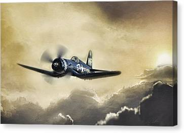 Vintage Airplane Canvas Print - Sunlit Corsair by Peter Chilelli