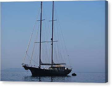 Black Ship Canvas Print by George Katechis