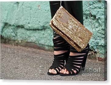 Black Shoes Gold Sequins Canvas Print by Rick Piper Photography
