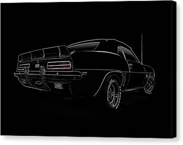 Camaro Canvas Print - Black Ss Line Art by Douglas Pittman