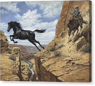 Black Stallion Jumping Canyon Canvas Print by Don  Langeneckert