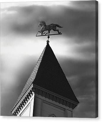 Black Stallion Weathervane Canvas Print by Larry Butterworth