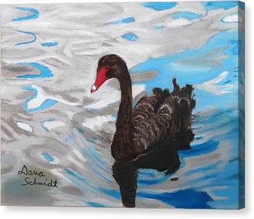 Black Swan Swimming Lake Eola Canvas Print