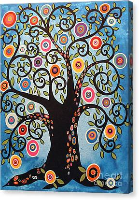 Black Swirl Tree Canvas Print by Karla Gerard