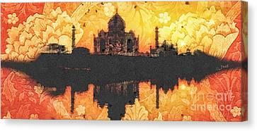 Black Taj Mahal Canvas Print by Mo T