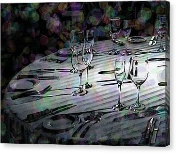 Dinner Party Invitation Canvas Print - Black Tie Festivity by Lin Haring