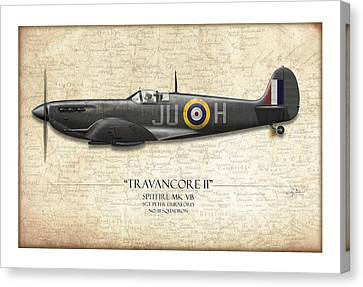 Black Travancore II Spitfire - Map Background Canvas Print by Craig Tinder