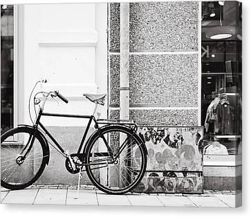Black Vintage Bicycle Canvas Print by Jimmy Karlsson