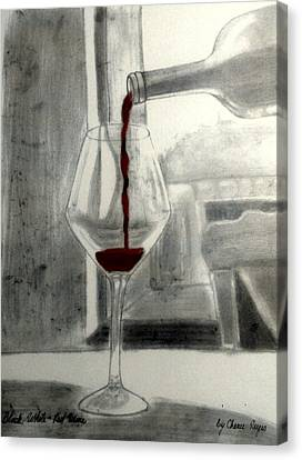 Black White And Red Wine Canvas Print by Chenee Reyes
