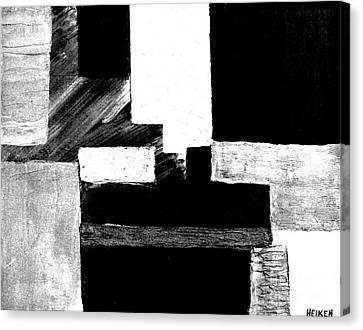 Black White Gray Abstract Canvas Print by Marsha Heiken