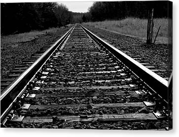 Black White Tracks Canvas Print