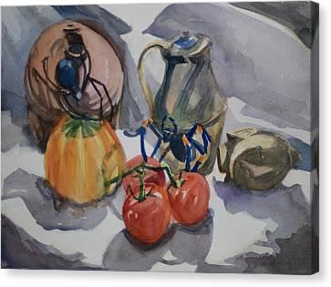 Black Widow And Orange Kneed Tarantula With Tomatoes Squash And Buddha Head. Canvas Print by Margaret Montgomery