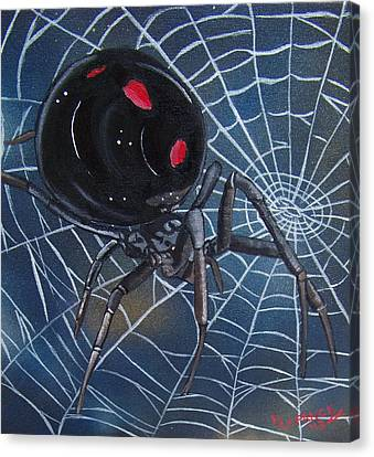 Black Widow Canvas Print by Debbie LaFrance