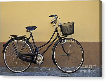 Black Woman Bicycle On Wall Canvas Print