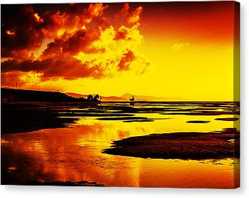 Black Yellow And Orange Sunrise Abstract Canvas Print by Julis Simo