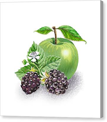 Blackberries And Green Apple Canvas Print