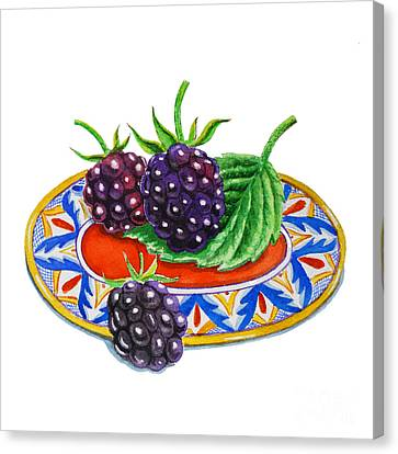Blackberries On Deruta Plate Canvas Print