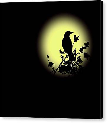Blackbird In Silhouette II Canvas Print