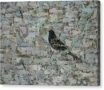 Blackbird In Tree Detail, 2012, Oil On Canvas Canvas Print by Ruth Addinall