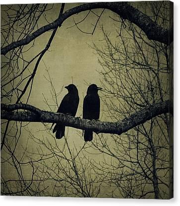 Blackbirds On A Branch Canvas Print