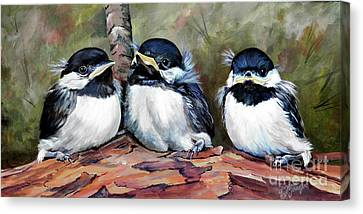 Blackcapped Chickadee Babies Canvas Print by Suzanne Schaefer