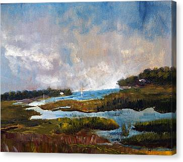 Canvas Print featuring the painting Blackfish Creek by Michael Helfen