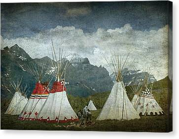 Blackfoot Camp At A Summer Powwow At St. Mary By Glacier National Park Canvas Print by Randall Nyhof