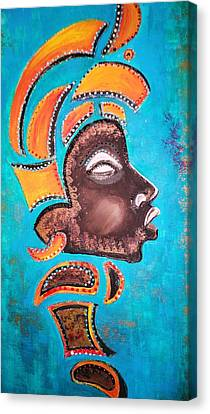 Canvas Print featuring the painting Blackgolden Queen by Yolanda Rodriguez
