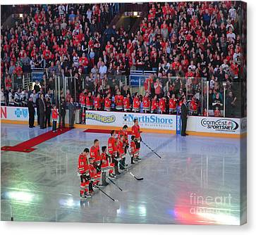 Canvas Print featuring the photograph Blackhawks Fight Cancer by Melissa Goodrich