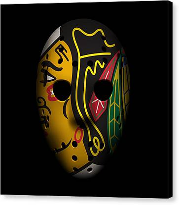 Goalie Canvas Print - Blackhawks Goalie Mask by Joe Hamilton