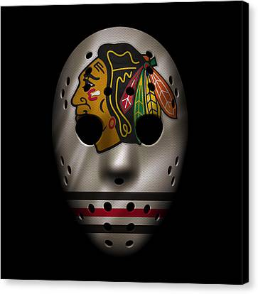 Goalie Canvas Print - Blackhawks Jersey Mask by Joe Hamilton